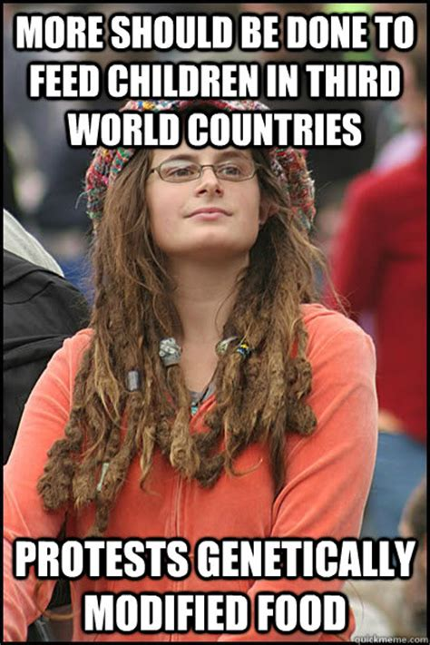 Third World Child Meme - more should be done to feed children in third world countries protests genetically modified food