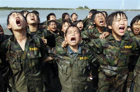 south korean school kids  tough military training