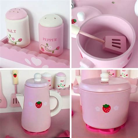 pink accessories for kitchen 9pc wooden kitchen play set accessories pink buy 4230