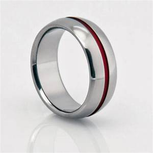 titanium band red pinstripe red string of fate titanium With red string of fate wedding rings