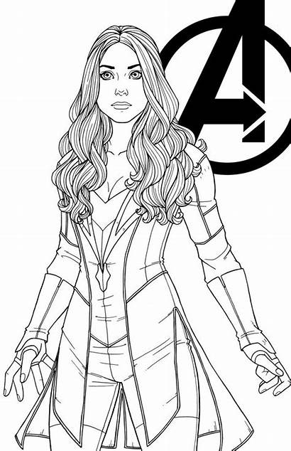 Wanda Scarlet Witch Maximoff Coloring Pages Avengers
