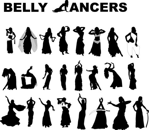 belly dancers   vector silhouettes dance crafts