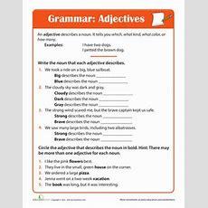 Adjective Practice  Homeschool  English Grammar Worksheets, Grammar Worksheets, Adjective