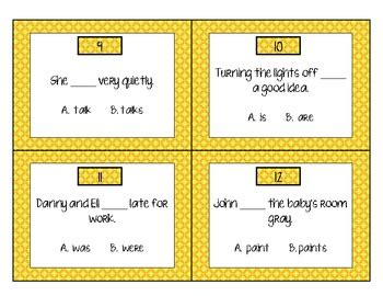 subject verb agreement scoot game  ctg teachers pay