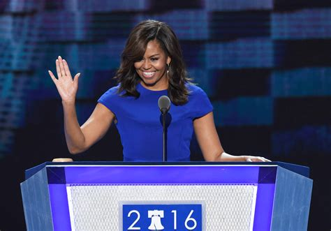 michelle obama delivers dnc speech  royal blue christian siriano dress instylecom