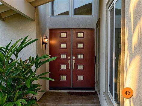 modern door designs  geometric glass panel inserts
