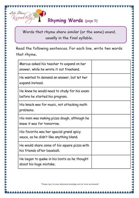 grade  grammar topic  rhyming worksheets  images