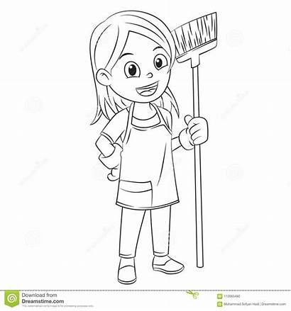 Clean Broom Cartoon Using Coloring Mother Help
