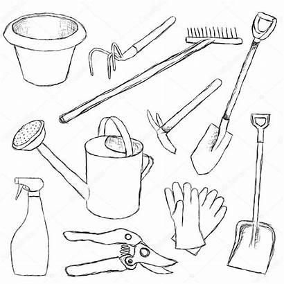 Tools Garden Gardening Drawing Hand Coloring Tool