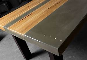 Table Beton Bois : concrete wood steel dining kitchen table ~ Premium-room.com Idées de Décoration