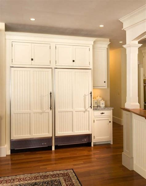 kitchen cabinets refrigerator panels double custom refrigerator panels with beadboard detail