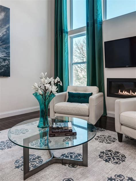 grey and turquoise living room curtains photos hgtv