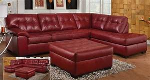 New simmons dark red leather sectional sofa great falls for Simmons dark red leather sectional sofa