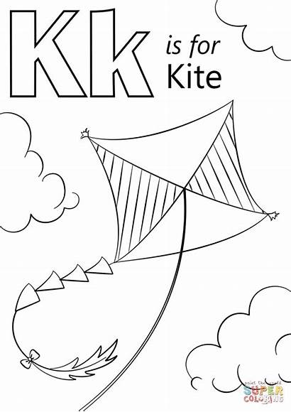 Kite Coloring Letter Pages Preschool Printable Drawing