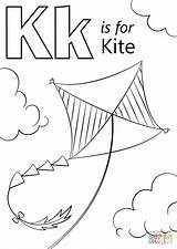 Kite Coloring Letter Drawing Preschool Alphabet Printable Supercoloring Kites Activities Colouring Crafts Sheets Abc Key Craft Kitten Words 1200px Worksheets sketch template