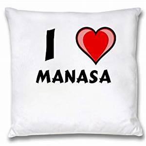 Amazon.com - White Cushion Cover with I Love Manasa (first ...