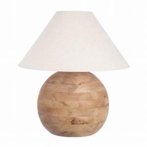Lampe Sur Pied Bois : lampe pied boule en bois abat jour coloris blanc maison et styles ~ Teatrodelosmanantiales.com Idées de Décoration
