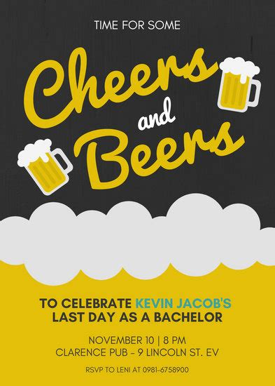 beer cheers bachelor party invitation templates  canva