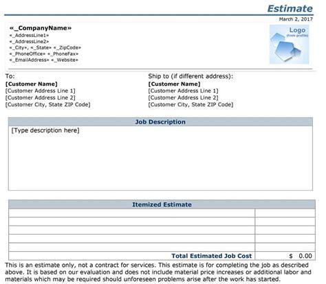 Estimate Template 44 Free Estimate Template Forms Construction Repair