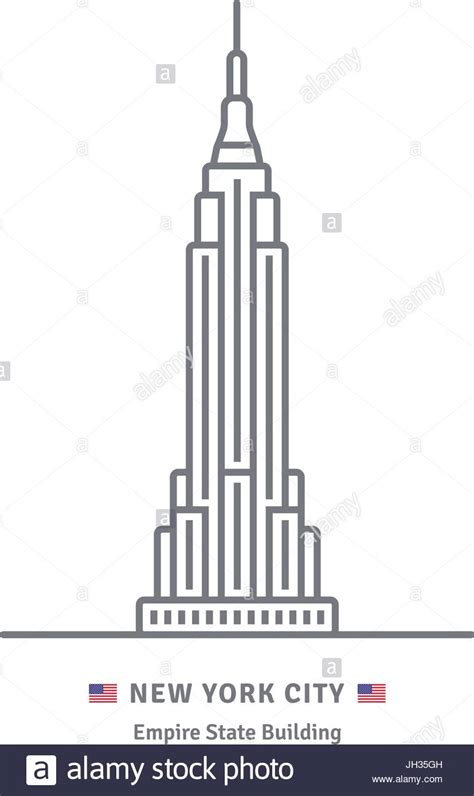 Us New York Diagram by New York City Line Icon Empire State Building And Us Flag