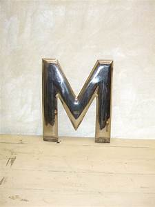 vintage 16quot chrome plated metal letter m mid century With salvaged metal letters