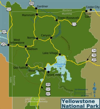 Yellowstone Nationalpark Karte