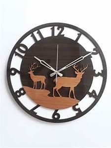 Deer, Design, Wooden, Wall, Clock