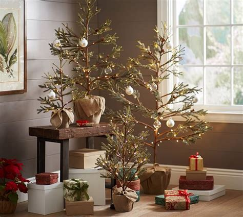 pottery barn tree lit potted pine trees pottery barn