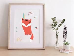 Affiche pour enfants renard indien ideal chambre for Affiche chambre bébé avec tapis dos