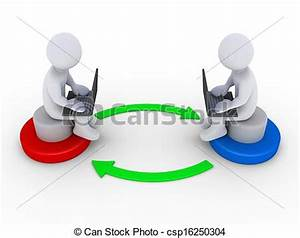 Stock Illustration of Two people with computers interact ...