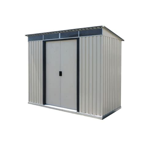 pent metal shed duramax 50371 8x6 pent roof with skylight light gray metal