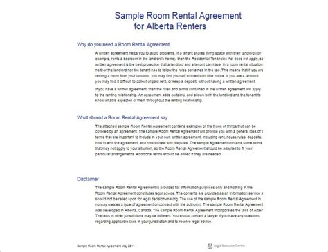 room rental agreement template  word   formats