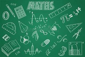 Hand Drawn Maths Set  Chalk On The Blackboard Stock Vector