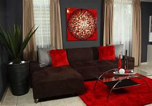 Chocolate brown and red living room with beautiful glass