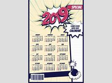 2019 cartoon calendar template vectors 03 free download