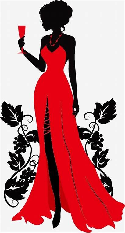 Silhouette Woman Wearing Vector Dresses Background Beauty