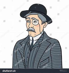 English Man Gentleman Bowler Hat Monocle Stock Vector ...