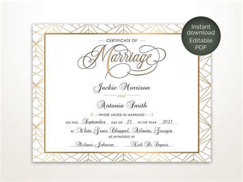 modern wedding certificate printable certificate