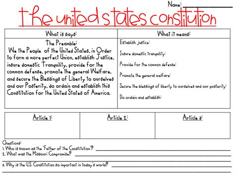 What The Teacher Wants! Constitution Day