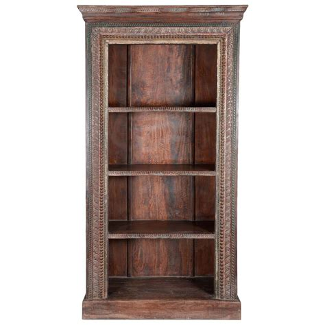 Wood Bookcase by Lincoln Study Carved Wood 4 Shelf Open Bookcase
