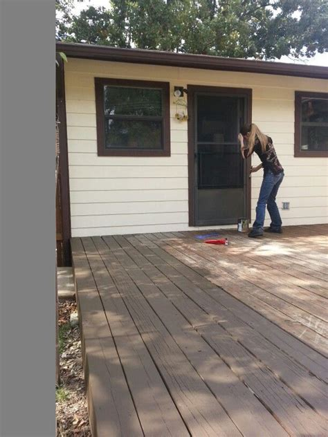 restaining deck same color deck restaining project behr solid coffee color diy