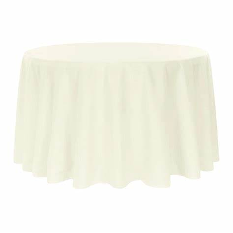 "Economy Polyester Tablecloth 132"" Round Light Ivory/Off"