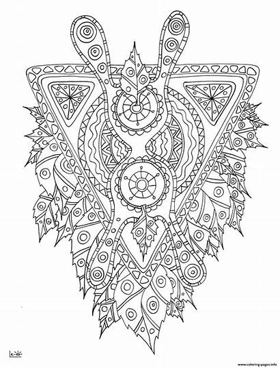 Coloring Pages Mythical Tribal Adults Creature Pattern