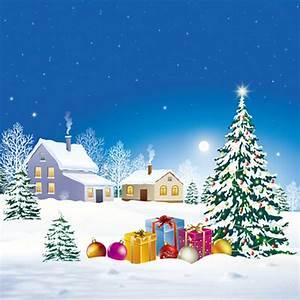 Christmas Snow Village House Green Xmas Tree Gifts ...