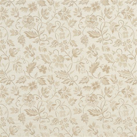 Floral Ivory And Silver Damask Upholstery Fabric By The Yard