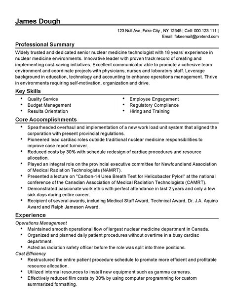 professional nuclear medicine technologist templates to