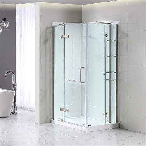 shower kit shop ove decors brushed nickel floor rectangle