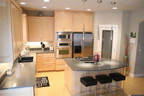 modern kitchen  maple cabinets  quartz counters