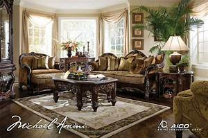 Michael amini essex manor luxury upholstered living room for Michael amini living room furniture