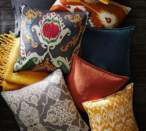 pottery barn printed  patterned pillows